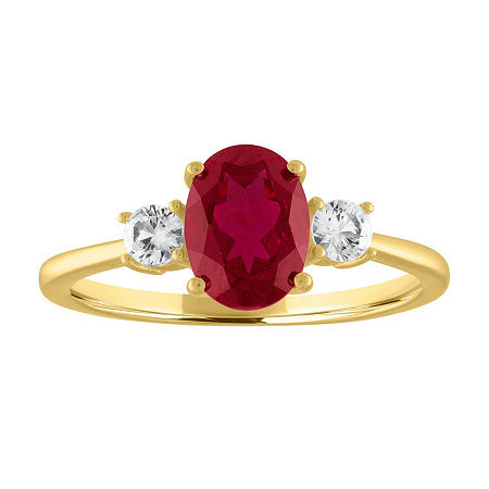 Womens Lab Created Red Ruby 10K Gold Cocktail Ring, 8 , No Color Family