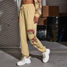Pantalones deportivos con estampado de dragon chino de cintura con cordon