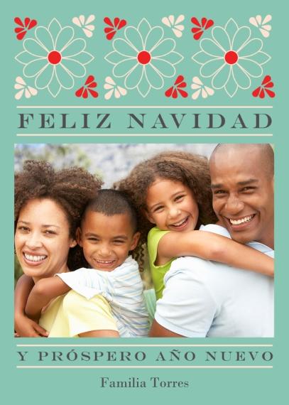 Tarjetas de Navidad 5x7 Cards, Premium Cardstock 120lb with Elegant Corners, Card & Stationery -Blue Flower Feliz Navidad