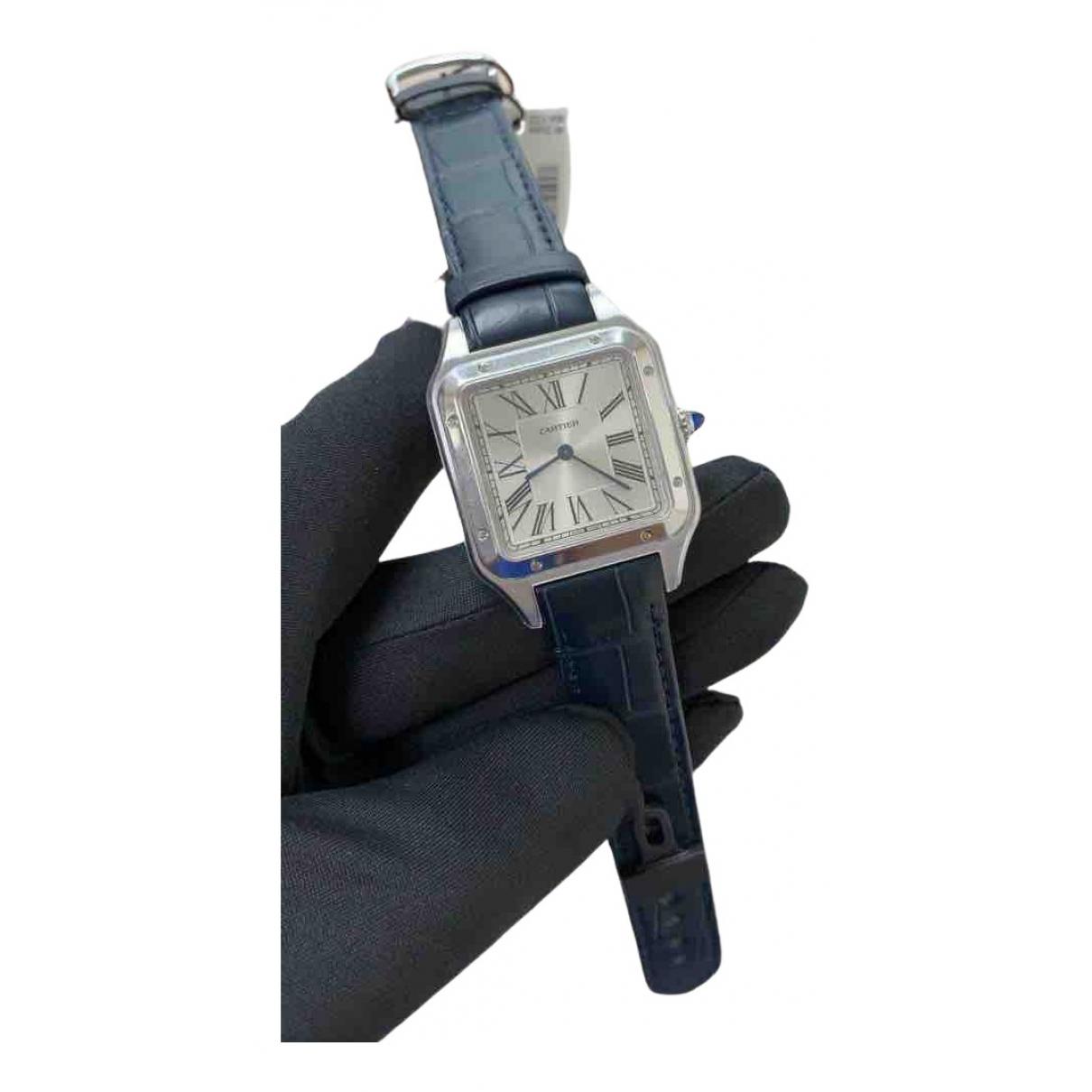 Cartier Santos Dumont  Uhr in  Blau Stahl