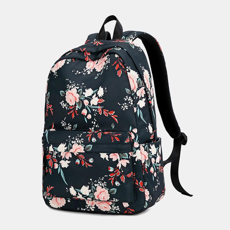 Women Floral Waterproof Casual Backpack School Bag