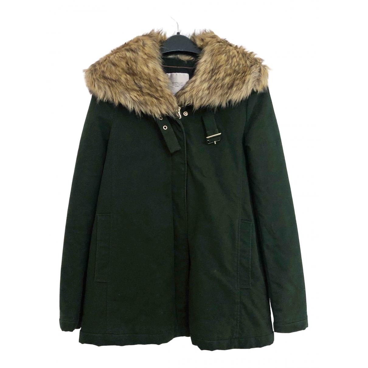 Zara - Manteau   pour femme en coton - kaki