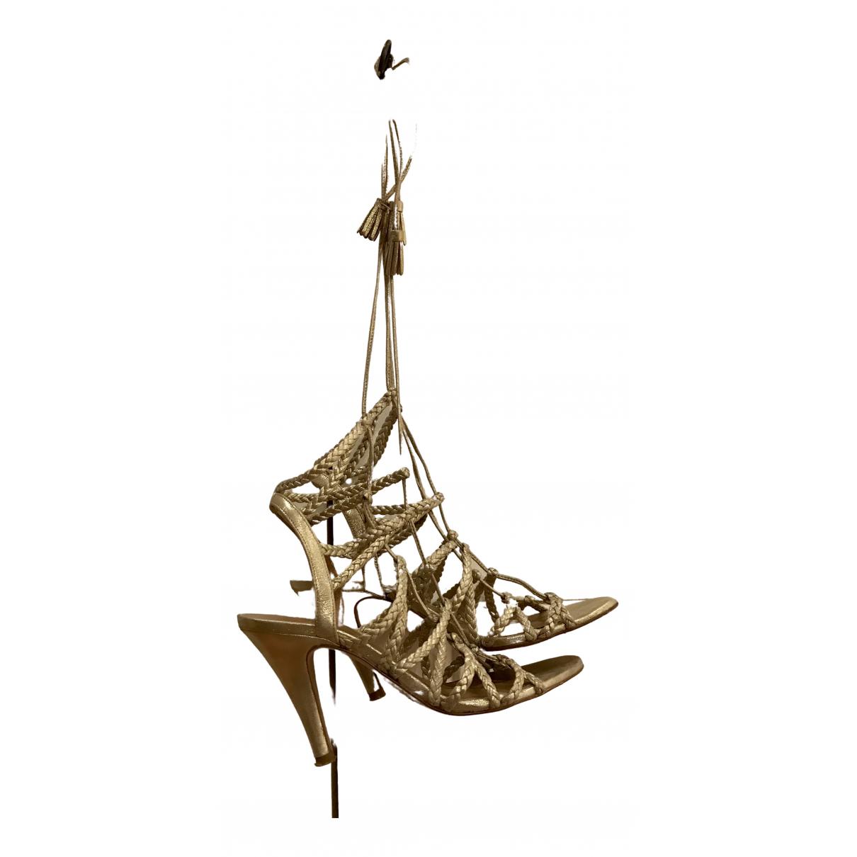 Sezane - Sandales   pour femme en cuir - dore