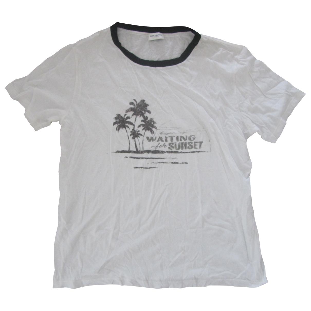 Saint Laurent \N White Cotton T-shirts for Men M International