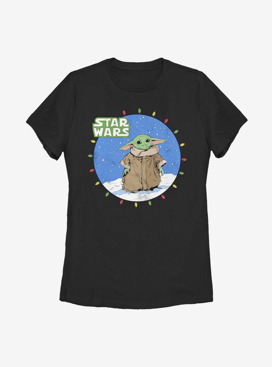 Star Wars The Mandalorian The Child Snow Baby Lights Womens T-Shirt