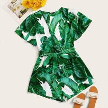Plus Tropical Print Surplice Neck Belted Romper