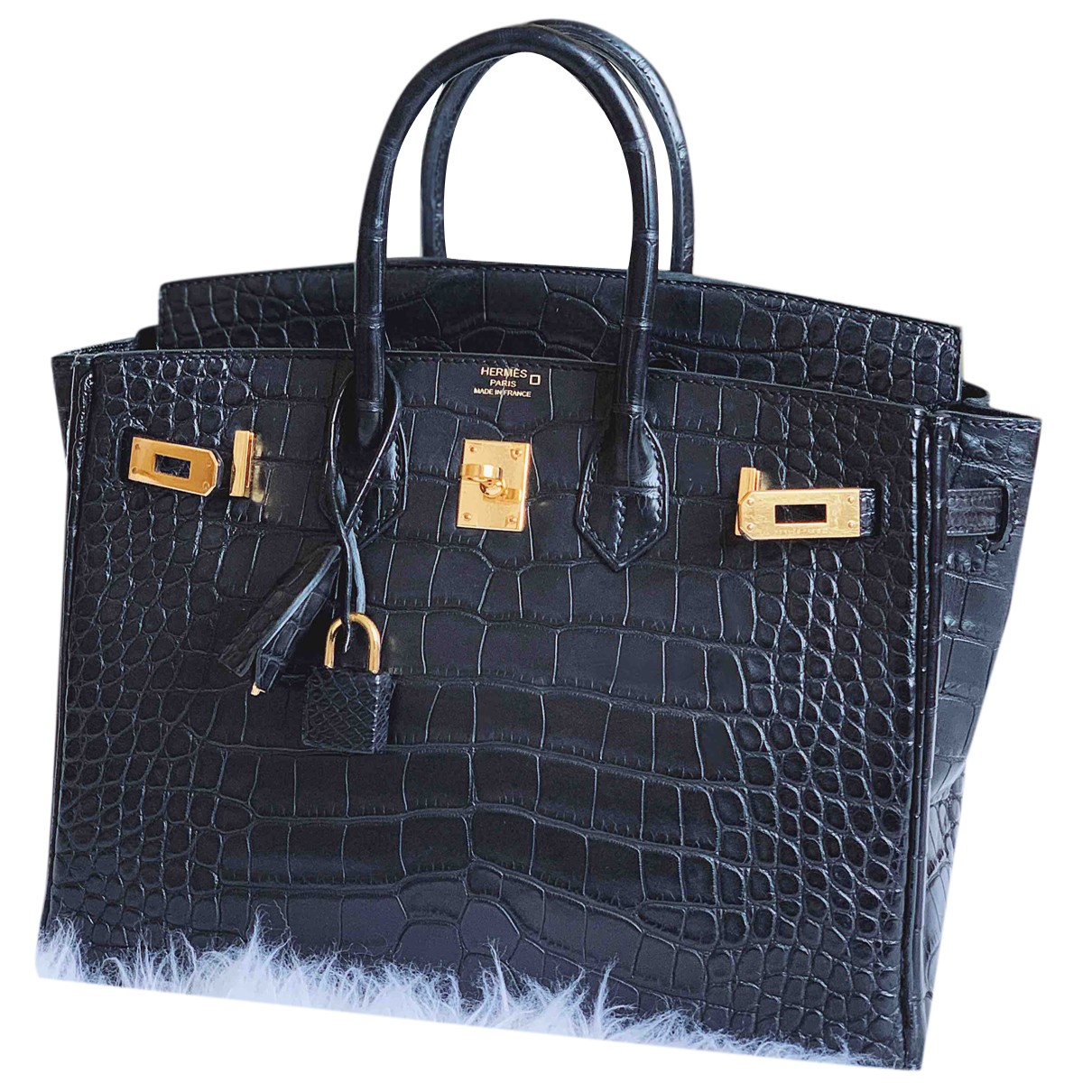 Hermes Birkin 25 Handtasche in  Schwarz Leder