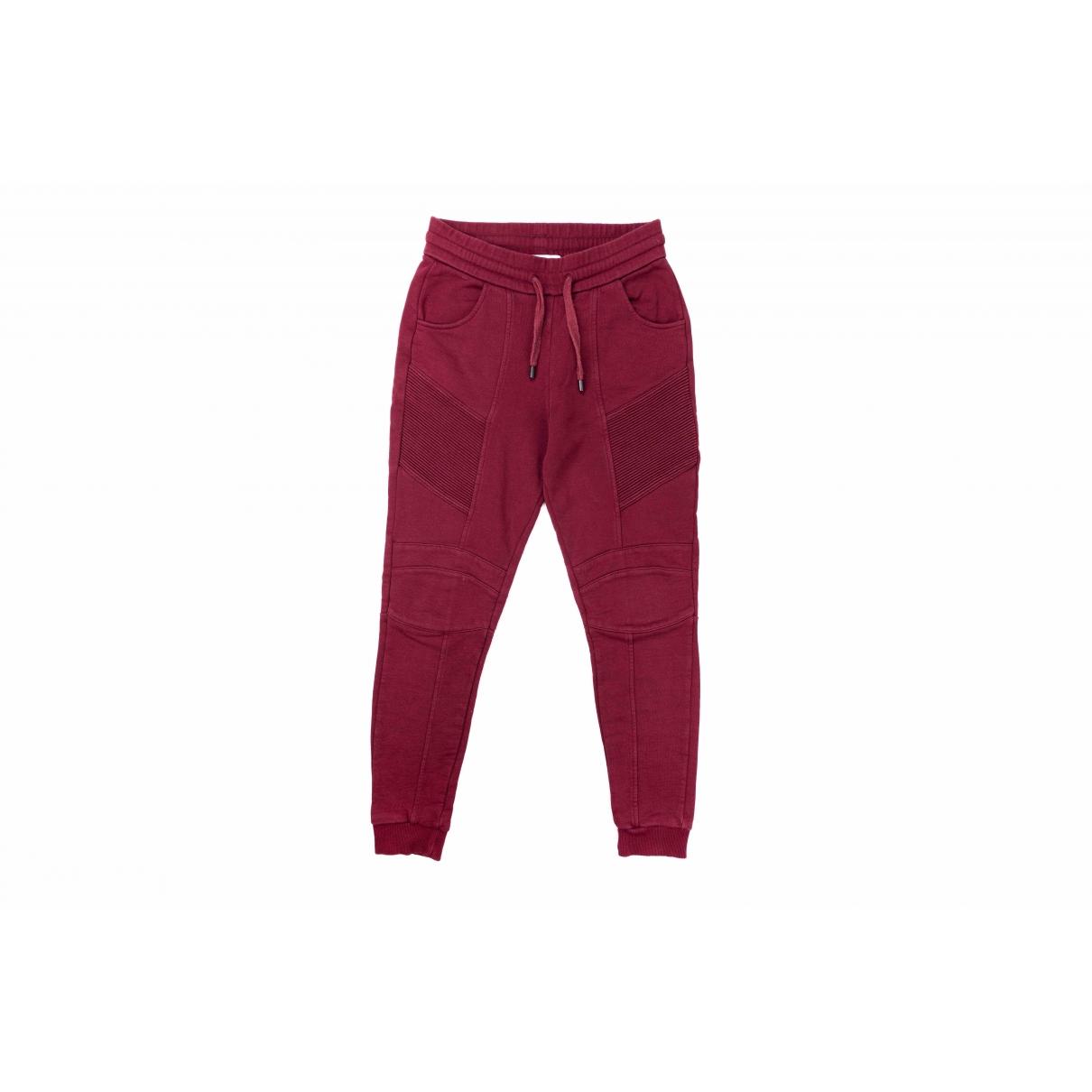 Pierre Balmain \N Burgundy Cotton Trousers for Women 36 FR