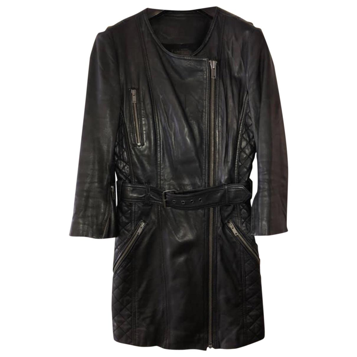 Topshop Unique - Blouson   pour femme en cuir - noir