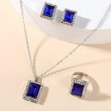 4pcs Rhinestone & Gemstone Decor Jewelry Set