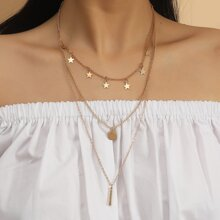 Star & Disc Charm Layered Necklace