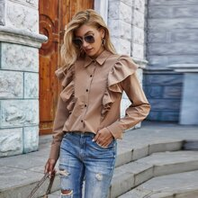 Ruffle Trim Button Up Solid Blouse