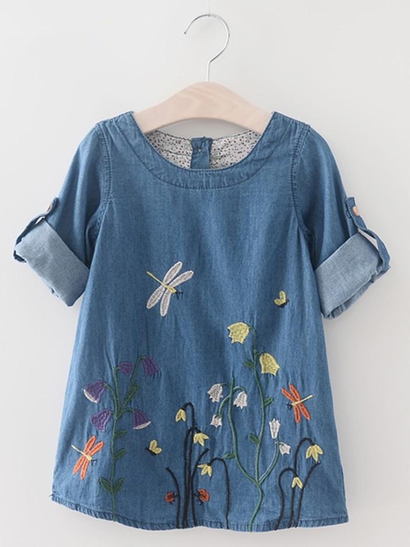 Ericdress Floral Embroidery Long Sleeve Denim Girls Dress