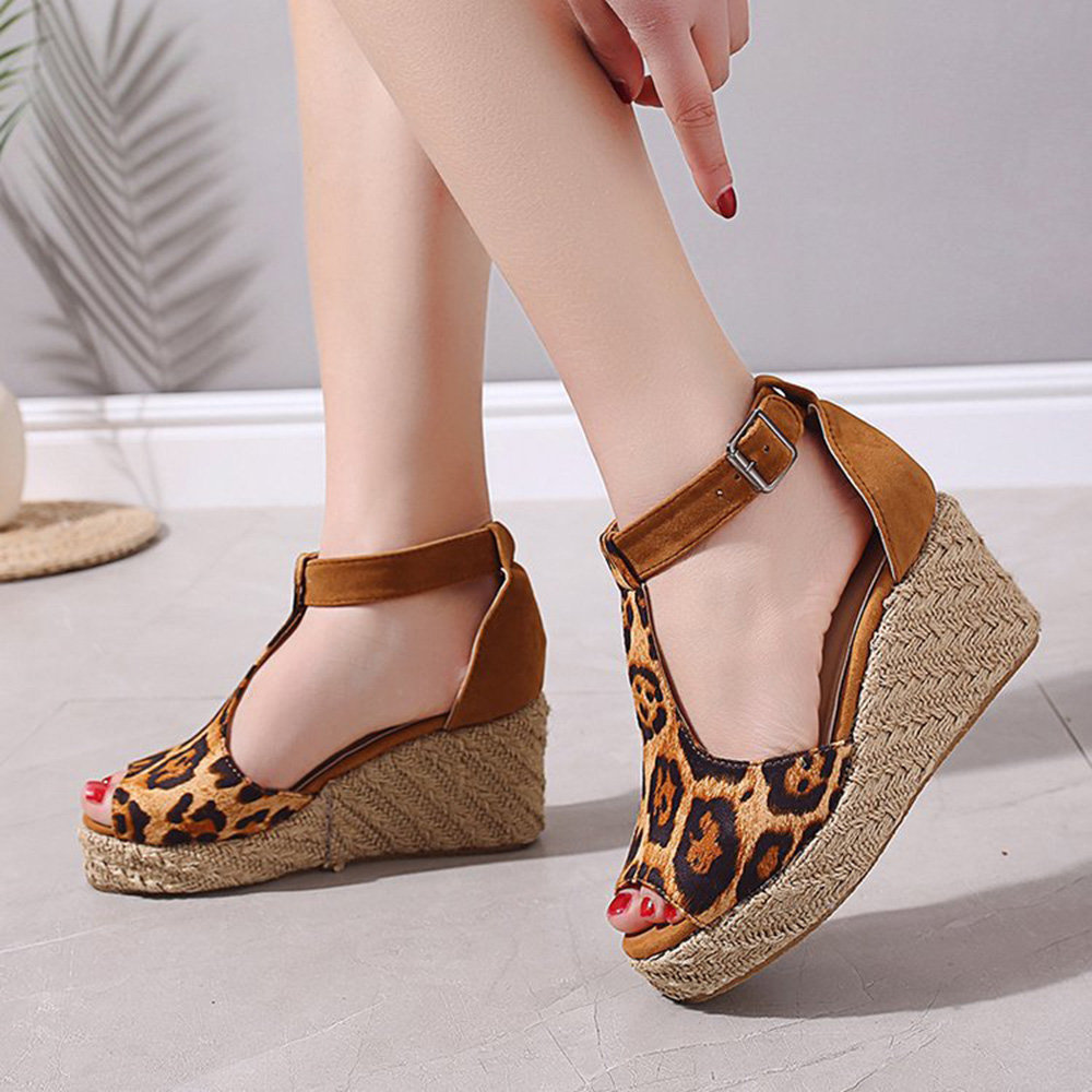 Peep Toe Hollow Out Buckle Strap Leopard Wedges Platform Sandals