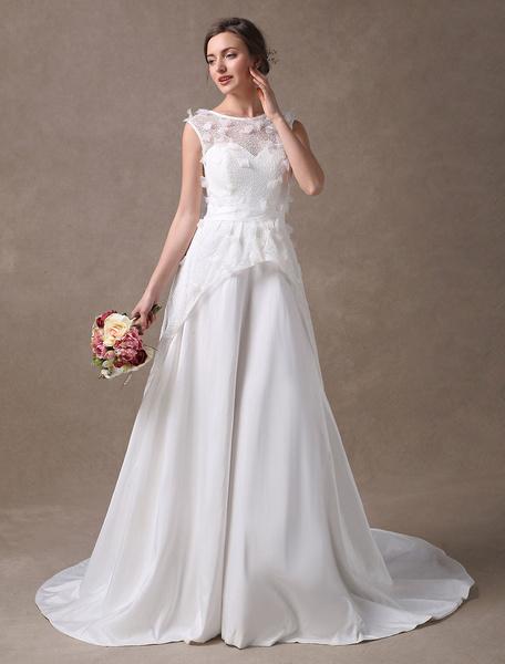 Milanoo Ivory Wedding Dresses Flowers Applique Lace Taffeta Beach Bridal Gowns With Train