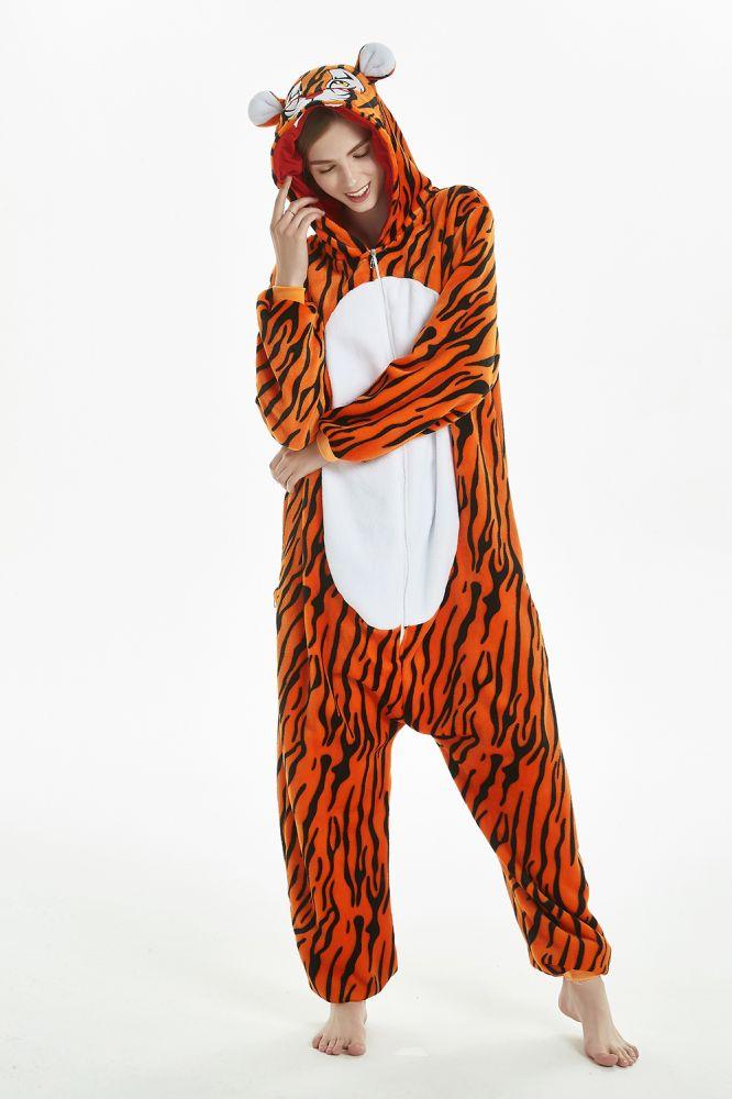 Nouveau Hiver Adultes Animal Onesie Kigurumi Pyjamas Ensembles De Bande Dessinee Vetements De Nuit Femmes PyjamasTiger Point Chaud Flannelle A Capuche