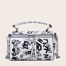 Graffiti Print Chain Satchel Bag