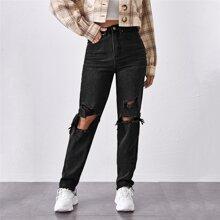 Mom Jeans mit hoher Taille und Riss