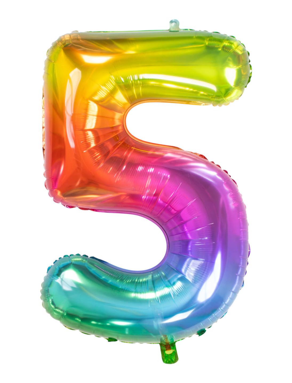 Folienballon bunt Zahl 5 Farbe: multicolor bzw. bunt