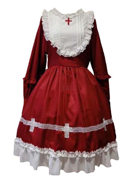 Milanoo Gothic Lolita OP Dress Criss Cross Ruffles Lolita Vestidos de una pieza
