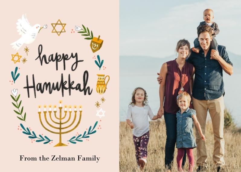 Hanukkah Photo Cards 5x7 Folded Cards, Premium Cardstock 120lb, Card & Stationery -Handpainted Hanukkah