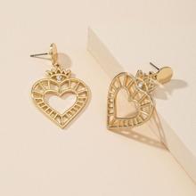 Hollow Out Heart Charm Drop Earrings