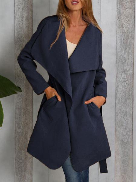 Milanoo abrigo mujer caqui de cuello vuelto de poliester larga Color liso Moda Mujer con manga larga con faja Fina estilo informal Otoño Chaquetas