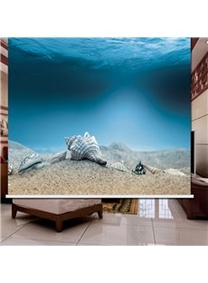 3D Shells and Starfishes Printed Scenery Curtain Polyester and Blackout Roller Shade