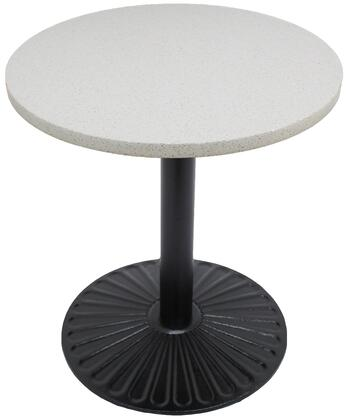 Q403 24 RD-Z14-22D 24 Round Snow White Quartz Tabletop with 22 Round Sun Beam Black Semi-Gloss Dining Height Table