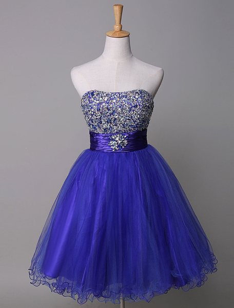 Milanoo  Strapless Prom Dress Royal Blue Rhinestone Beading Tulle A-Line Mini Homecoming Dress With Sash