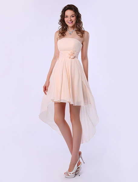 Milanoo Gold Champagne A-line Strapless High-Low Design Chiffon Bridesmaid Dress