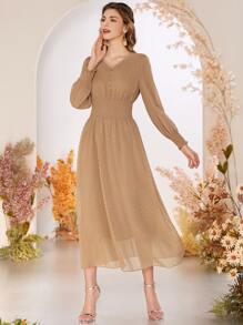 Swiss Dot Button Front Shirred Waist Dress
