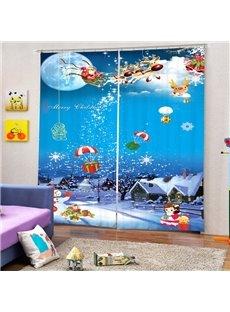 Cartoon Santa Claus with White Snow Printed Christmas Theme Custom 3D Curtain