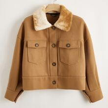 Plus Single Breasted Contrast Collar Flap Pocket Coat