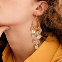 Ohrringe mit offenem Wassertropfen Scheilbe und Quasten