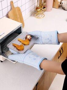 2pcs Striped Pattern Insulation Glove