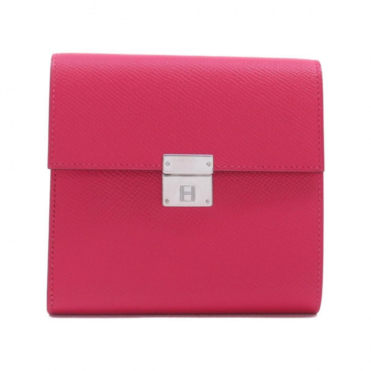 Hermes - Portefeuille Clic 12 pour femme en cuir - rose