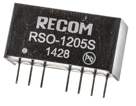 Recom RSO 1W Isolated DC-DC Converter Through Hole, Voltage in 9 → 18 V dc, Voltage out 5V dc