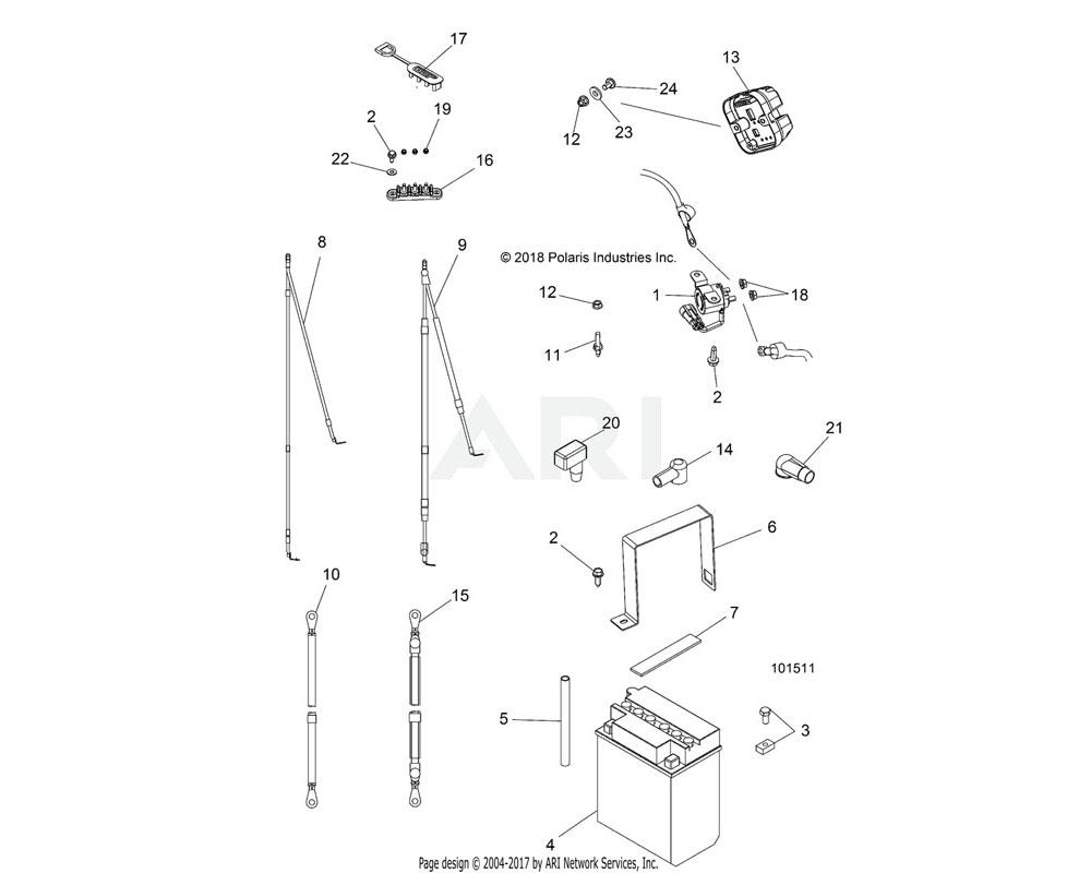 Polaris OEM 4014424-830 CABLE, BATTERY, FLAT | [INCL. 22]