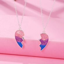2pcs Toddler Girls Colorful Heart Charm Necklace