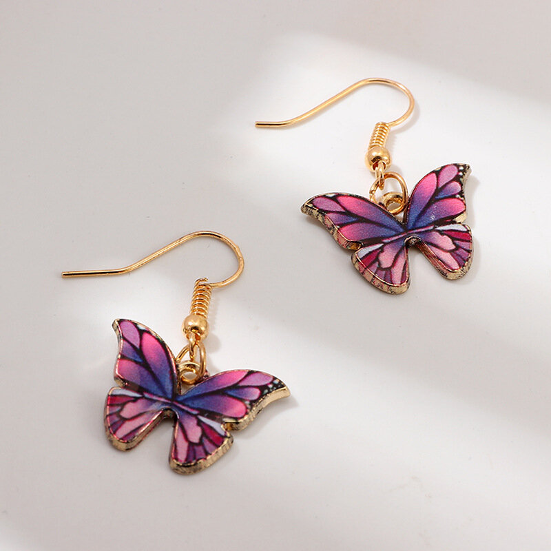 Trendy Metal Geometric Butterfly Pendant Earrings Pink Purple Gradient Butterfly Ear Hook