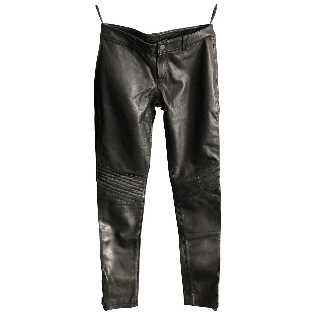 Non Signé / Unsigned \N Black Leather Trousers for Women 34 FR