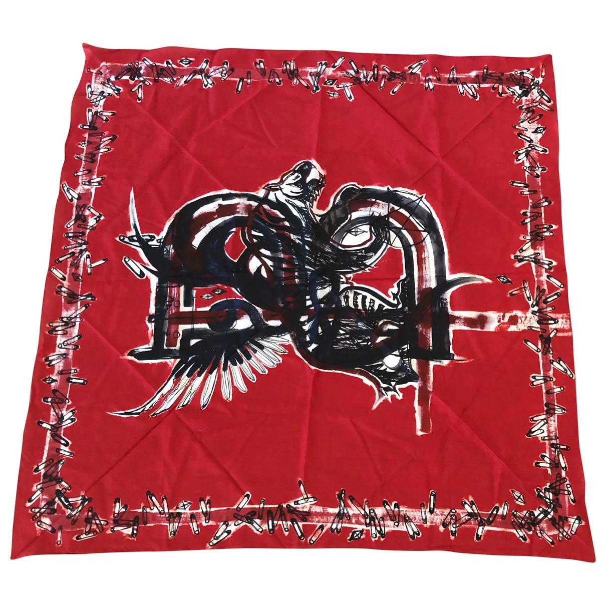 Balmain \N Red Cotton Silk handkerchief for Women \N
