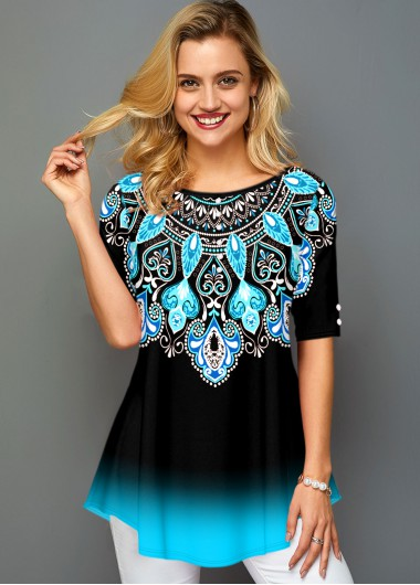 Round Neck Ombre Tribal Print T Shirt - XS
