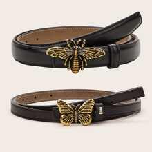 2 Stuecke Schmetterling & Biene Decor PU Guertel