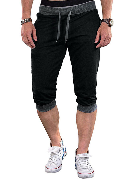 Milanoo Pantalones cortos para hombre Pantalones cortos de color Bloque de cintura con cordon Pantalones cortos de ciclismo de verano Pantalones jogge