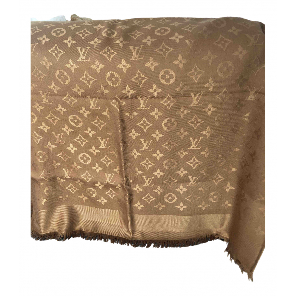 Louis Vuitton Châle Monogram shine Brown Silk scarf for Women \N