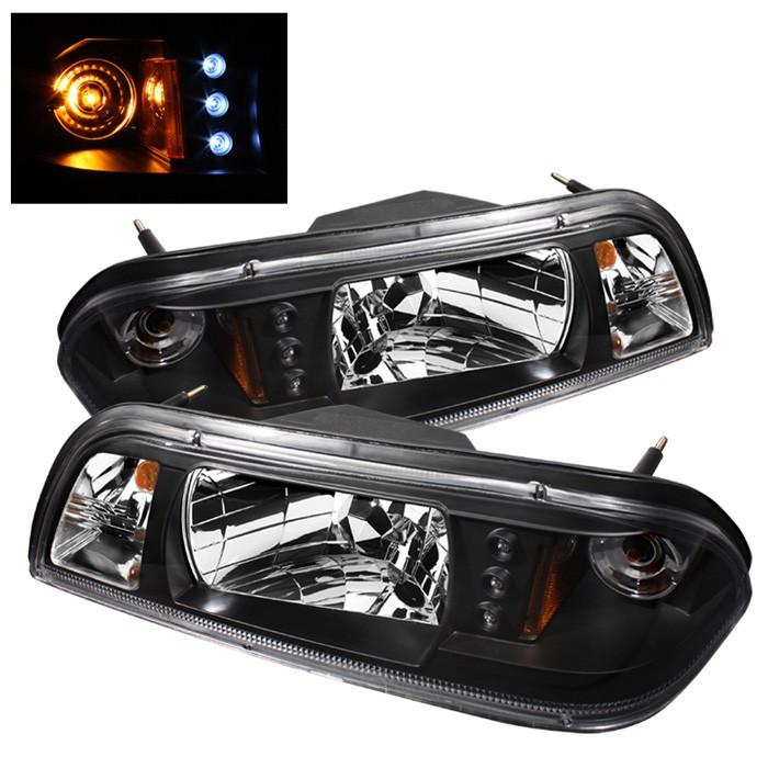 Spyder LED Crystal Headlights Black for Ford Mustang 87-93