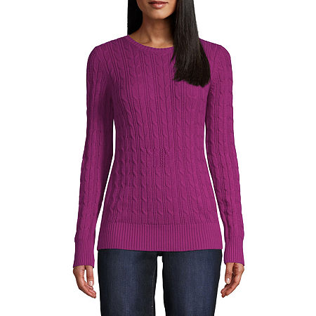 St. John's Bay Cable Womens Crew Neck Long Sleeve Pullover Sweater, Petite Medium , Pink