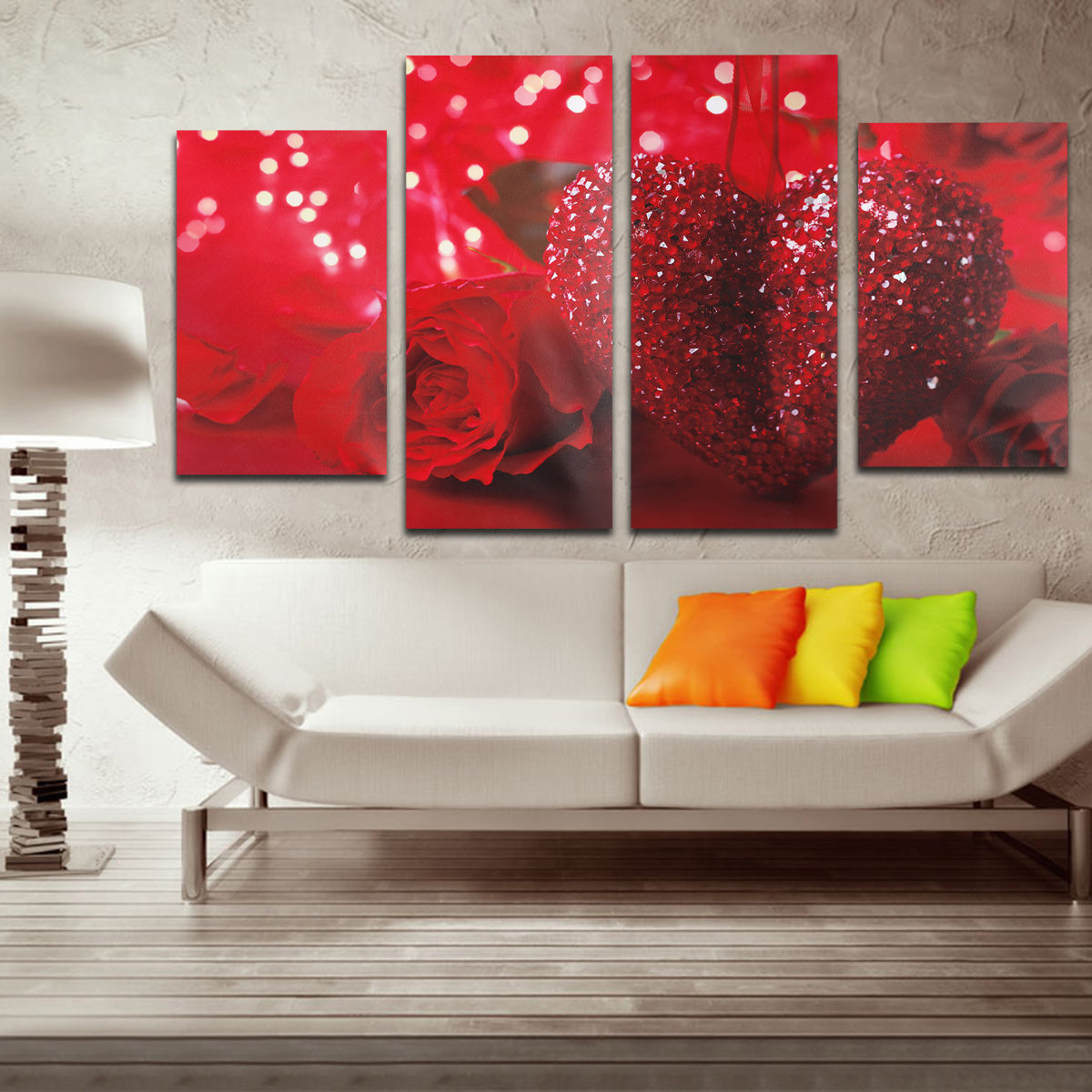 4Pcs Red Heart Love Floral Flower Rose Pattern Canvas Wall Art Picture 4 Panel Gift Wall Hanging